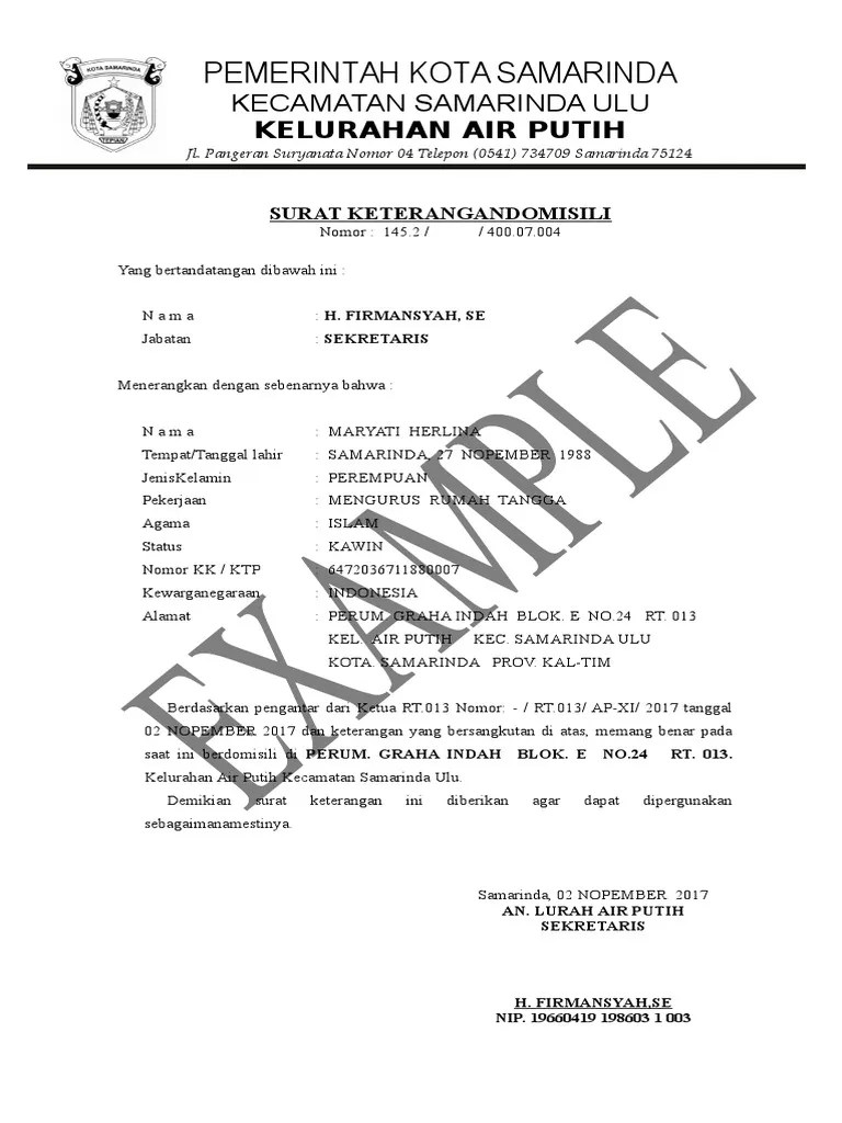 Contoh Surat Orton Contoh Surat Keterangan Domisili Dari Lurah Atau Kades Doc Word Cute766