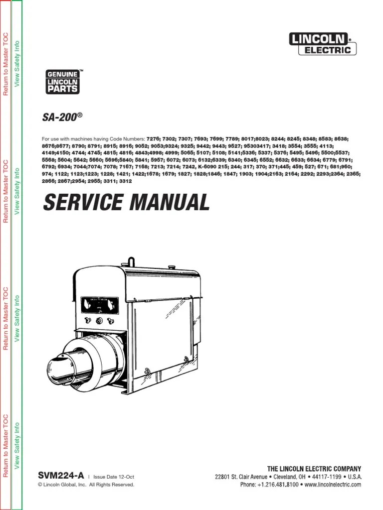 medium resolution of all sa200 arc welding generator service manuals welding electric arc lincoln sam 400 wiring diagram