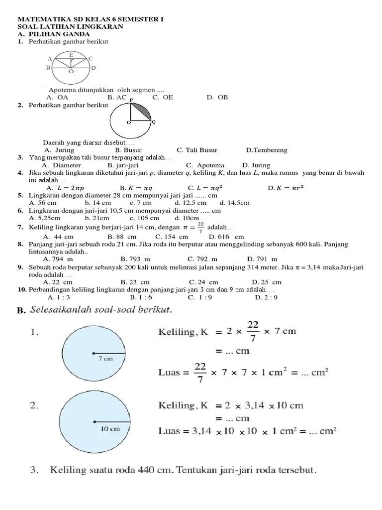 Soal Matematika Kelas 6 Bab Diagram Lingkaran : matematika, kelas, diagram, lingkaran, Matematika, Kelas, Semester, Lingkaran