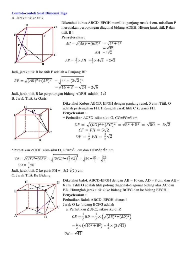 Jarak Titik Ke Bidang : jarak, titik, bidang, Contoh, Jarak, Titik, Bidang, Terbaru, Cute766