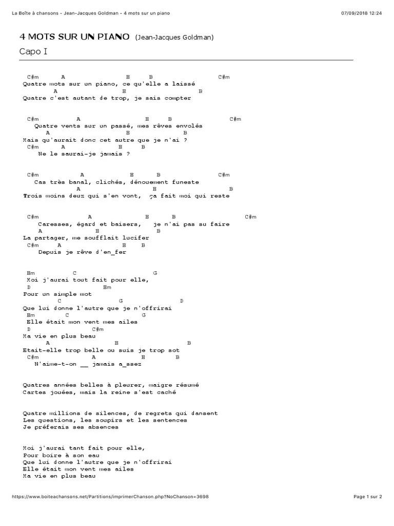 4 Mots Sur Un Piano Paroles : piano, paroles, Jean-Jacques, Goldman, Piano, Loisirs
