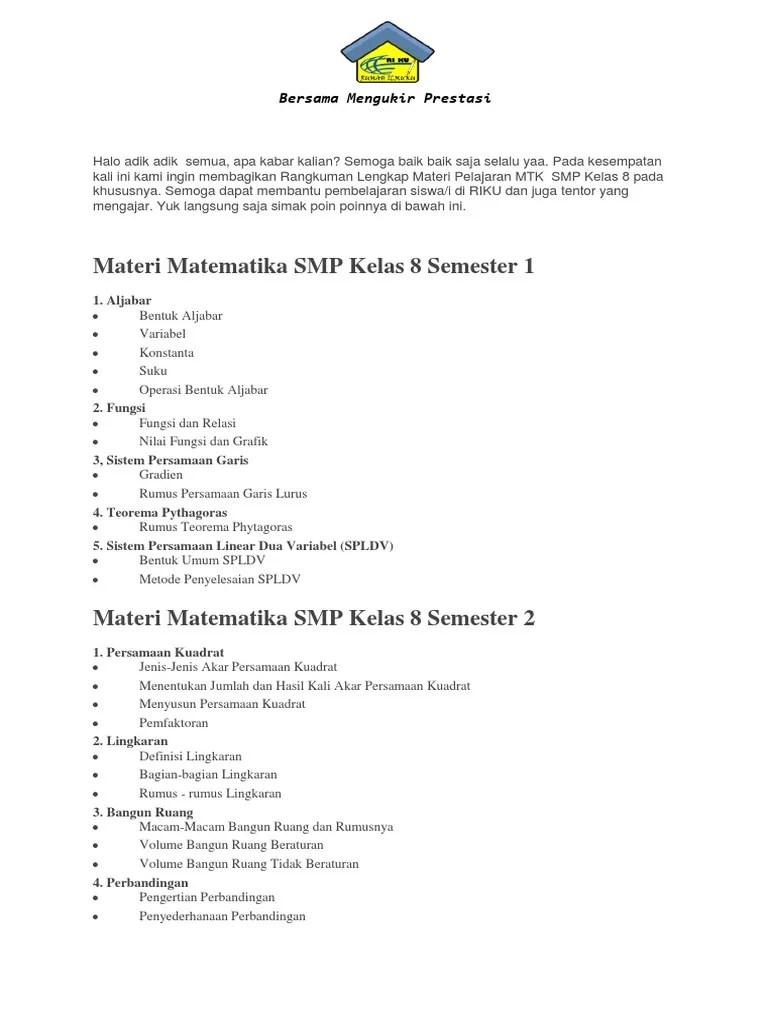 Materi Kelas 8 Semester 2 : materi, kelas, semester, Materi, Matematika, Kelas, (1).docx