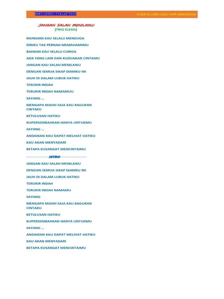 Lirik Lagu Trio Elexis : lirik, elexis, Lirik, Batak, Elexis, Jangan, Salah, Menilaiku, Arsia