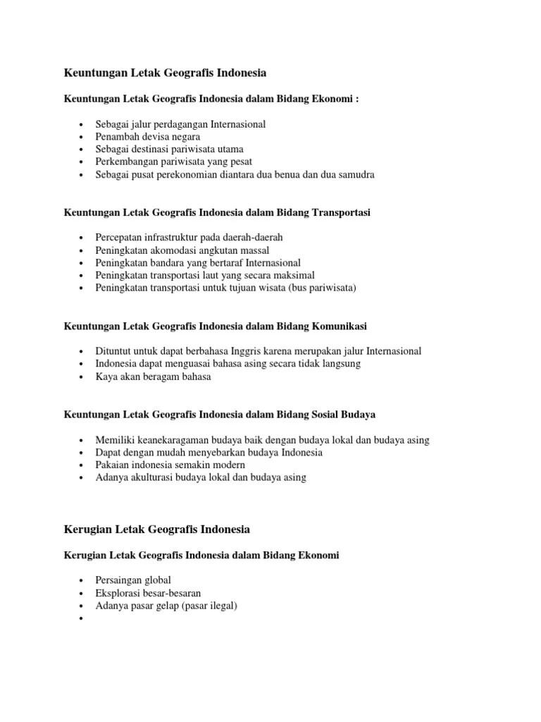 Keuntungan Letak Geologis Indonesia : keuntungan, letak, geologis, indonesia, Keuntungan, Letak, Geografis, Indonesia