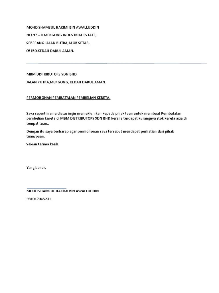 Surat Pembatalan Po : surat, pembatalan, Contoh, Surat, Batal, Pembelian, Kereta