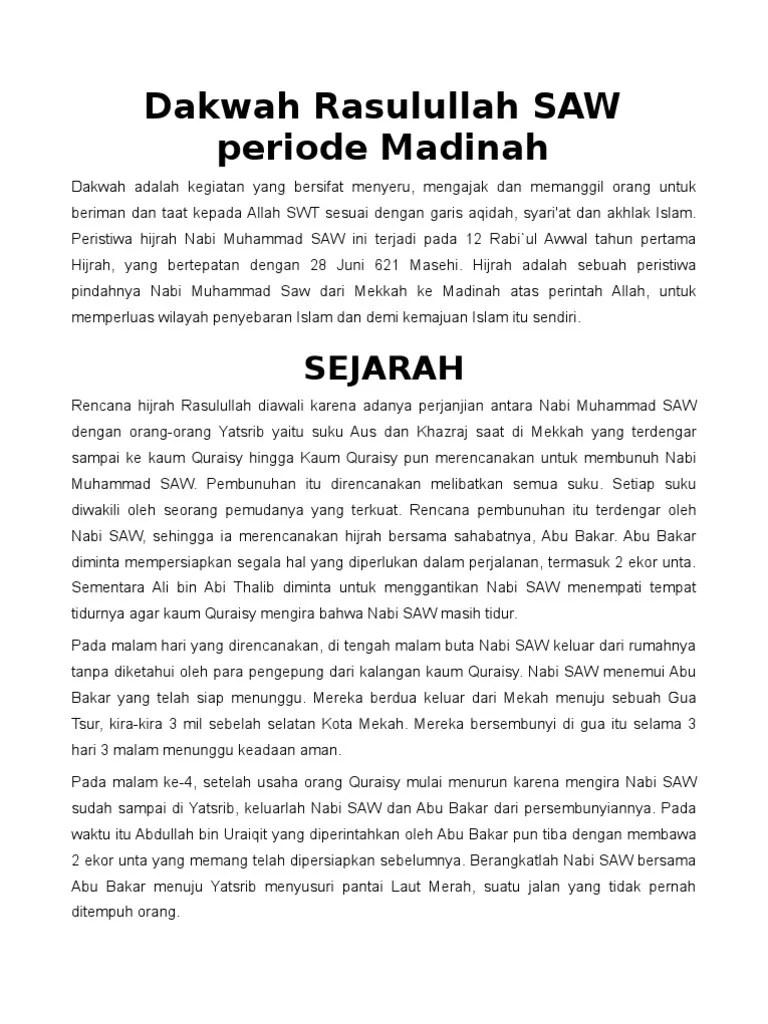 Sejarah Perjuangan Nabi Muhammad Saw Periode Madinah : sejarah, perjuangan, muhammad, periode, madinah, Dakwah, Rasulullah, Periode, Madinah