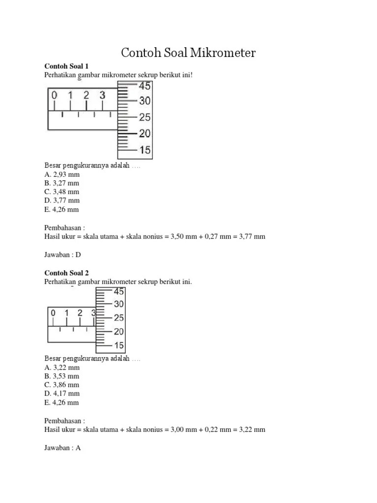 Contoh Soal Mikrometer Sekrup : contoh, mikrometer, sekrup, Contoh, Mikrometer