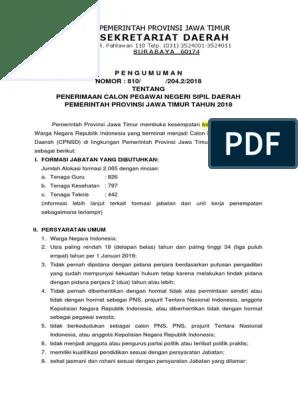 Pengumuman Cpns Pemprov Jatim : pengumuman, pemprov, jatim, Draft, Pengumuman, Pemprov, Jatim, Tahun, 2018-1.pdf