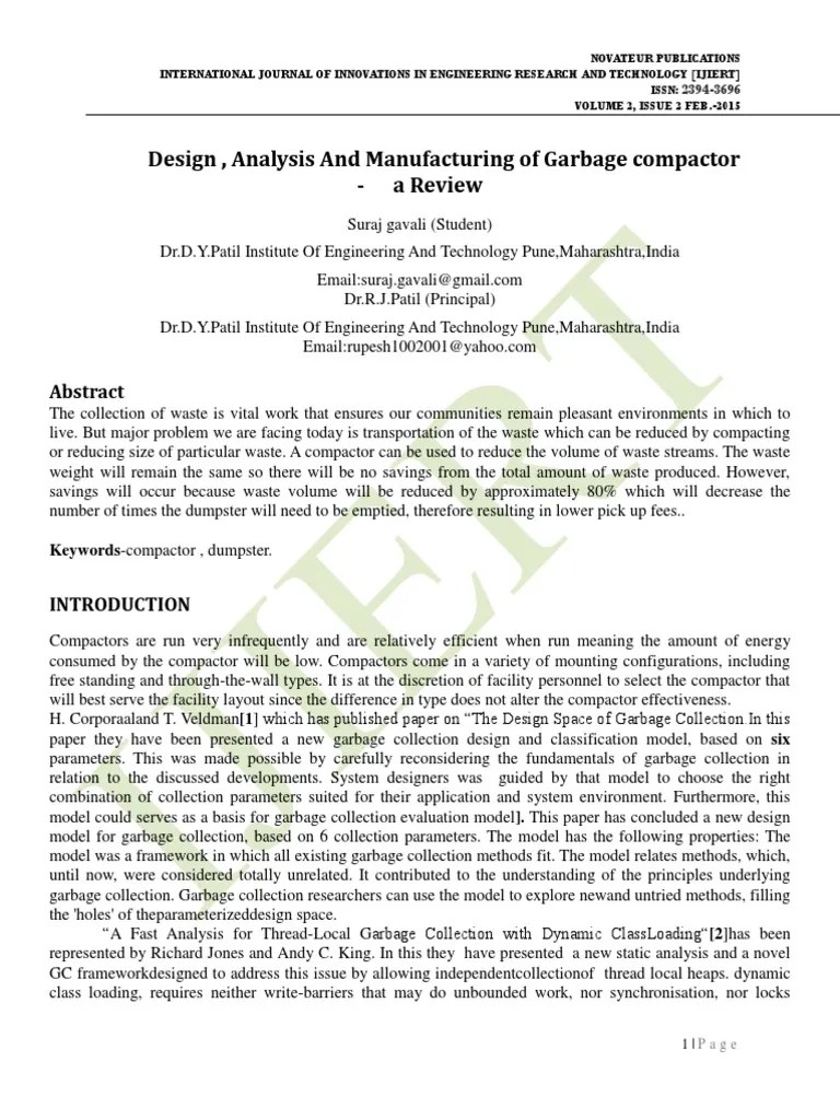 hight resolution of design analysis and manufacturing of garbage compactor a review real time computing algorithms
