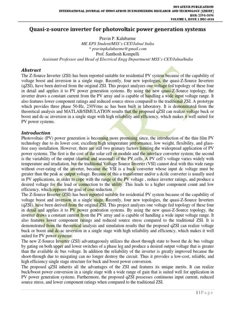 hight resolution of quasi z source inverter for photovoltaic power generation systems power inverter photovoltaics