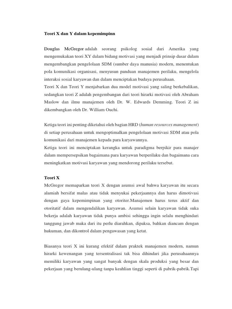 Teori X Dan Y : teori, 387766809-Teori-X-Dan-Y-Dalam-Kepemimpinn.docx