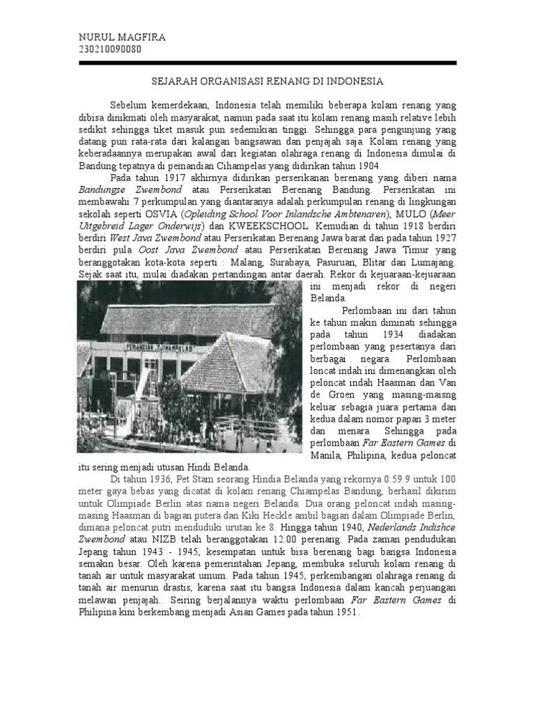 Sejarah Renang Indonesia : sejarah, renang, indonesia, Sejarah, Organisasi, Renang, Indonesia