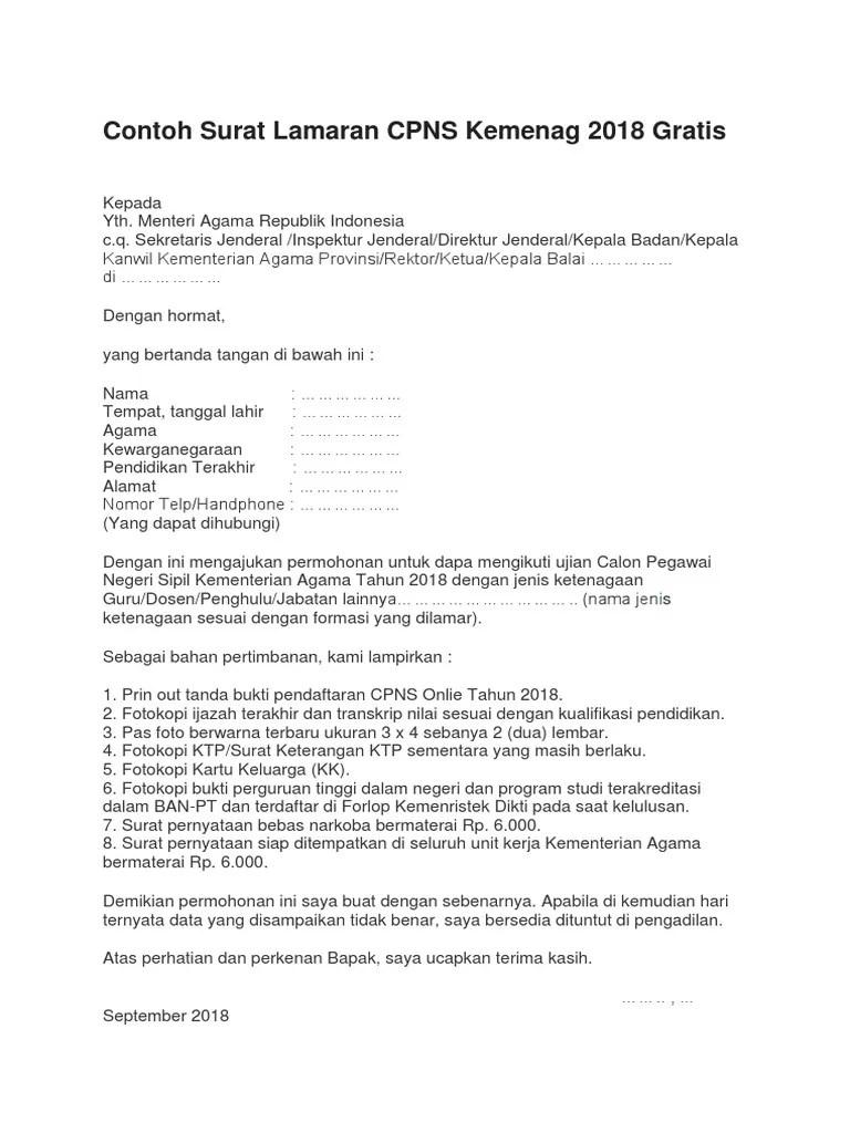 Lokasi Ujian Cpns Kemenag 2018 : lokasi, ujian, kemenag, Contoh-Surat-Lamaran-CPNS-Kemenag-2018-Gratis.docx