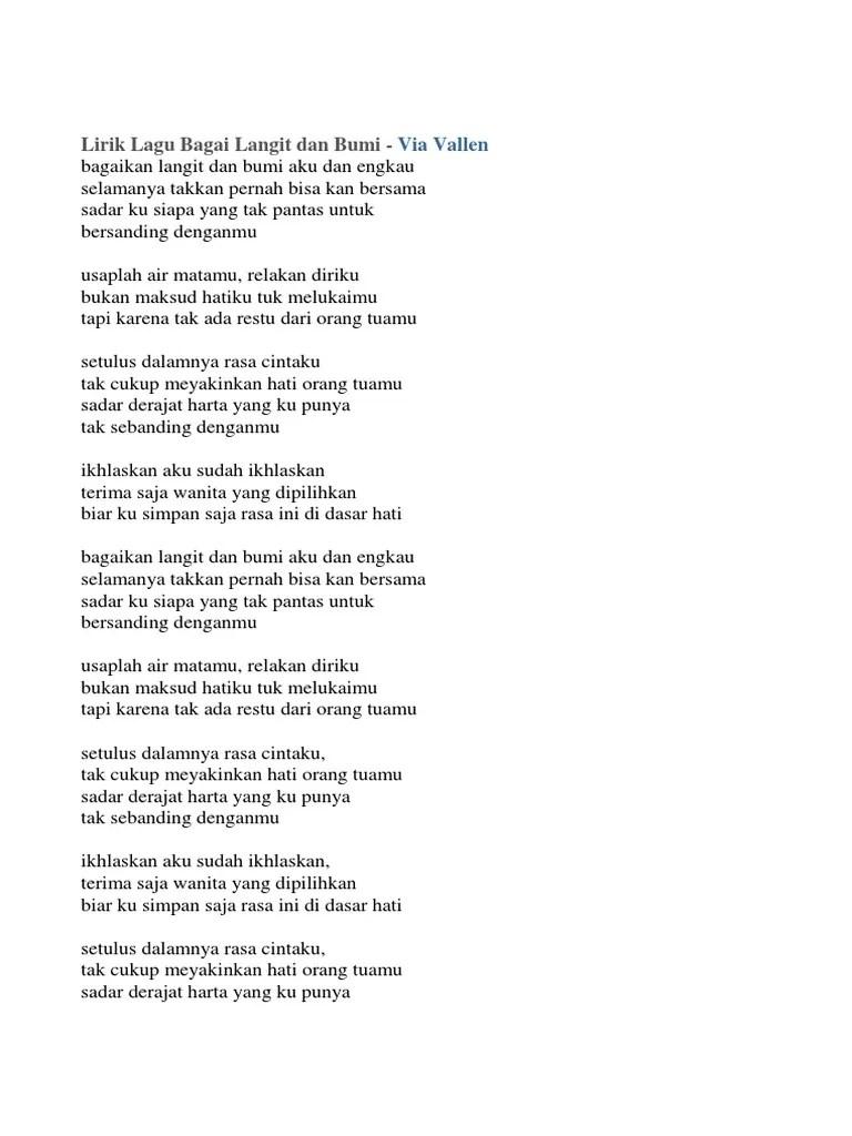 Lirik Lagu Sayang Versi Jawa : lirik, sayang, versi, Lirik, Vallen, Bagai, Langit, Versi