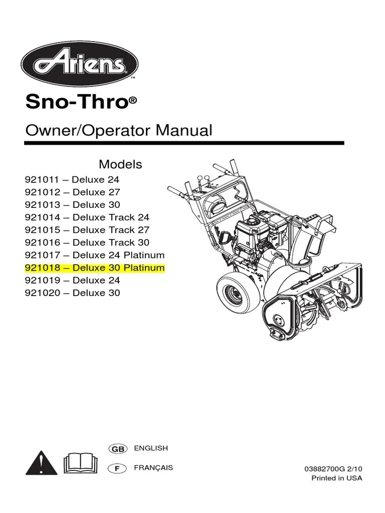 array ariens snow blower 921018 u2013 deluxe 30 platinum pdf clutch tire rh es scribd  [ 768 x 1024 Pixel ]