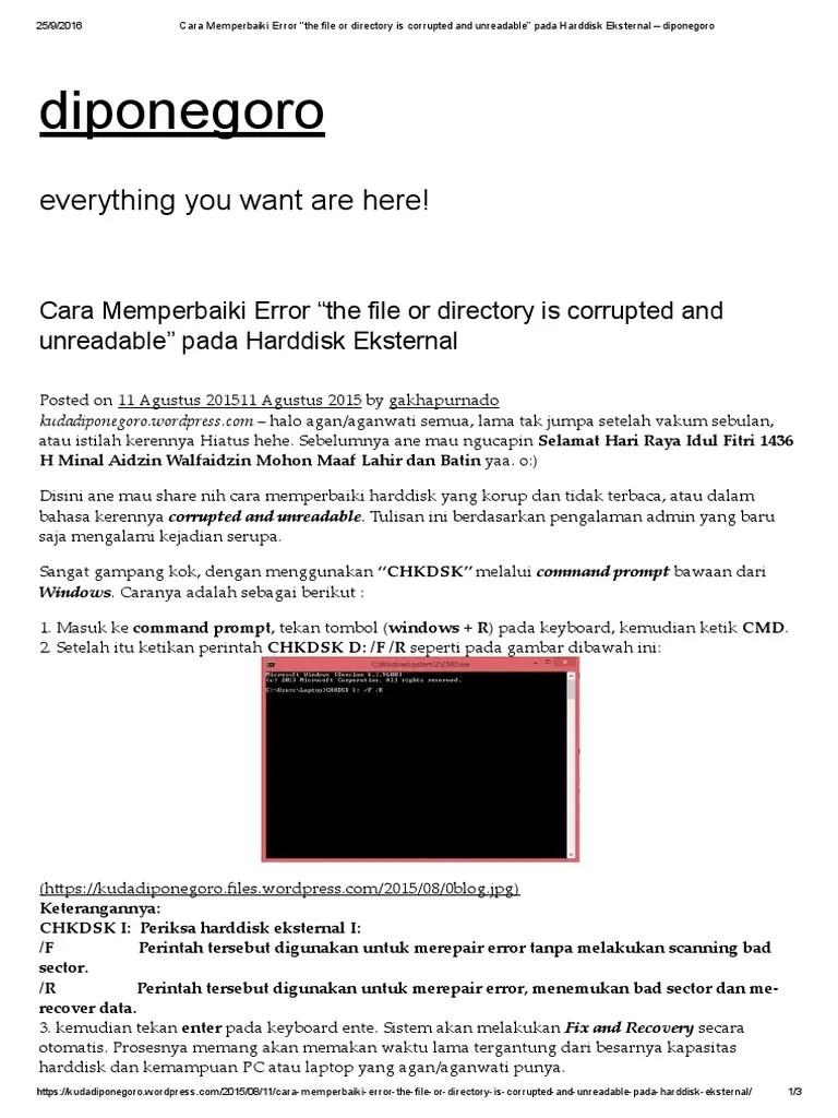 """Cara Mengatasi The File Or Directory Is Corrupted And Unreadable : mengatasi, directory, corrupted, unreadable, Memperbaiki, Error, """"the, Directory, Corrupted, Unreadable"""", Harddisk, Eksternal"""