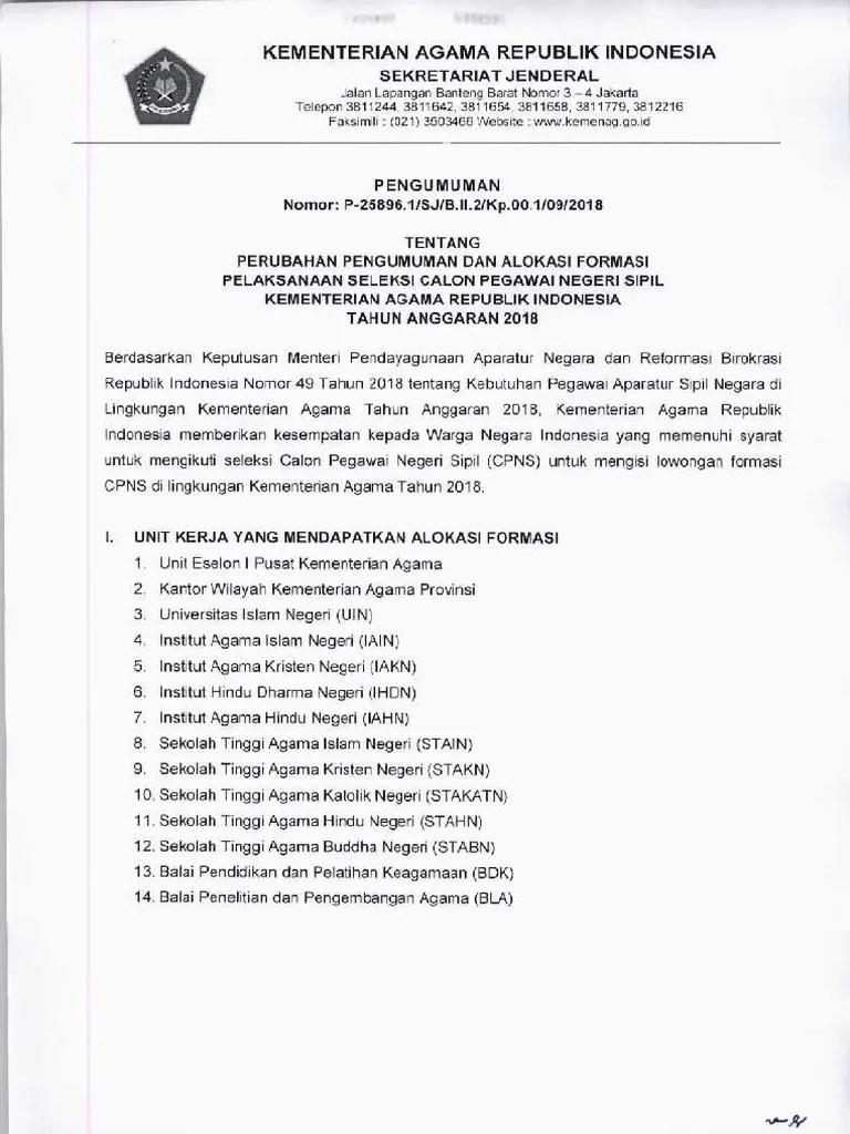 Formasi Kemenag Cpns 2019 Pdf : formasi, kemenag, PENGUMUMAN, Rincian, Formasi, Kementerian, Agama, 2018.pdf