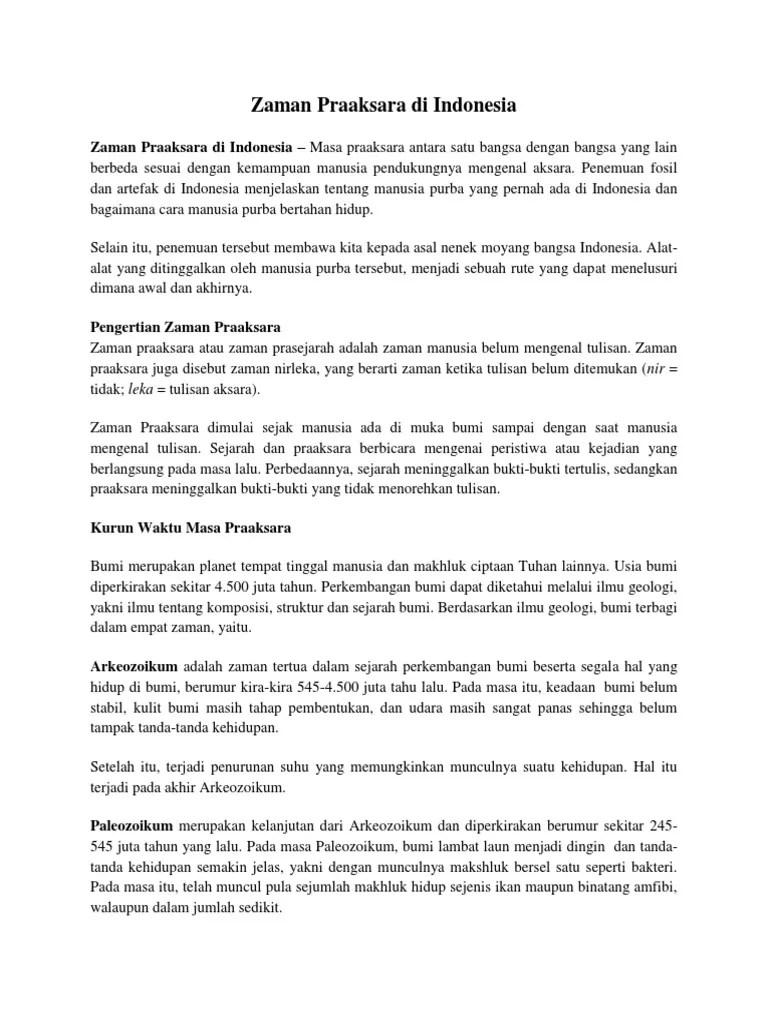 Pengertian Zaman Praaksara Dan Prasejarah : pengertian, zaman, praaksara, prasejarah, Zaman, Praaksara, Indonesia