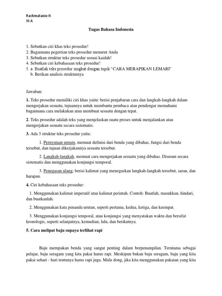Tuliskan Ciri Ciri Teks Prosedur : tuliskan, prosedur, Tanio