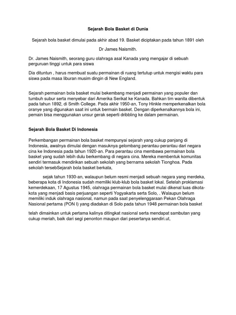 Sejarah Masuknya Sepakbola Di Indonesia : sejarah, masuknya, sepakbola, indonesia, Sejarah, Masuknya, Basket, Indonesia, Seputar