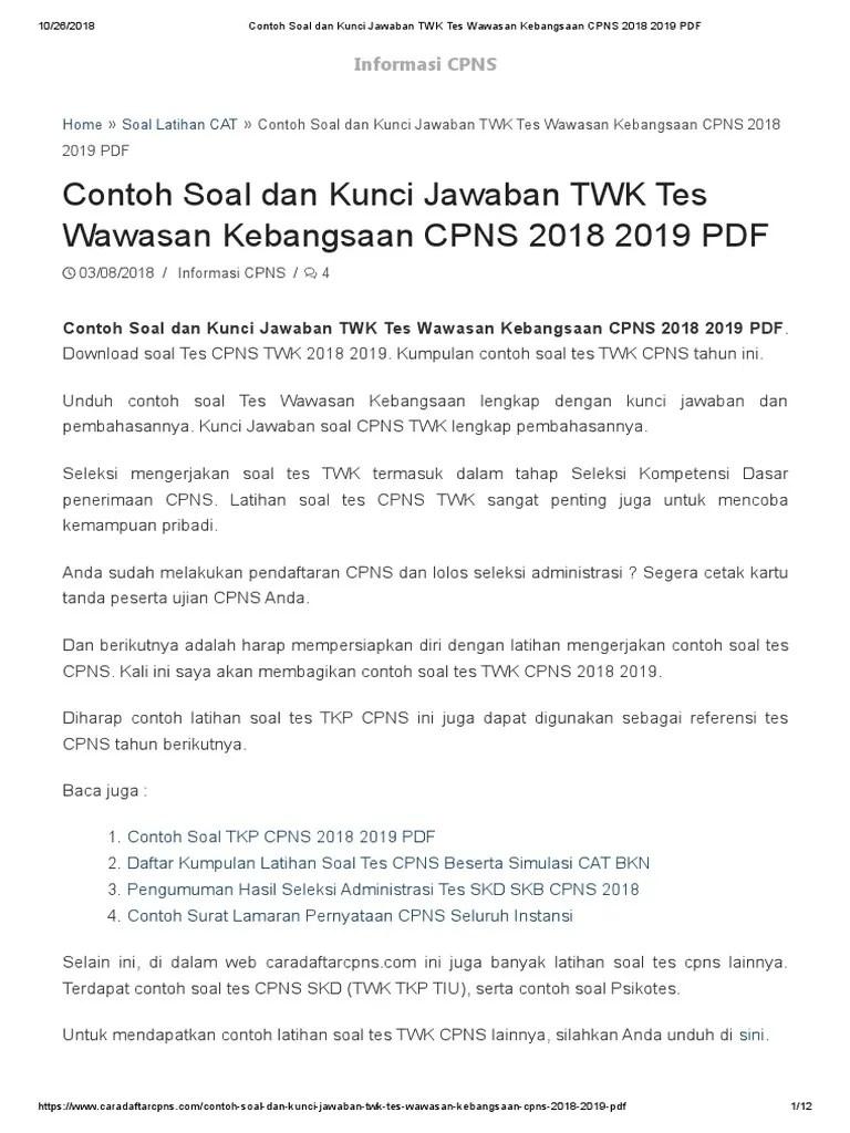 Soal Tes Skd Cpns 2018 Dan Kunci Jawaban Jawabanku Id