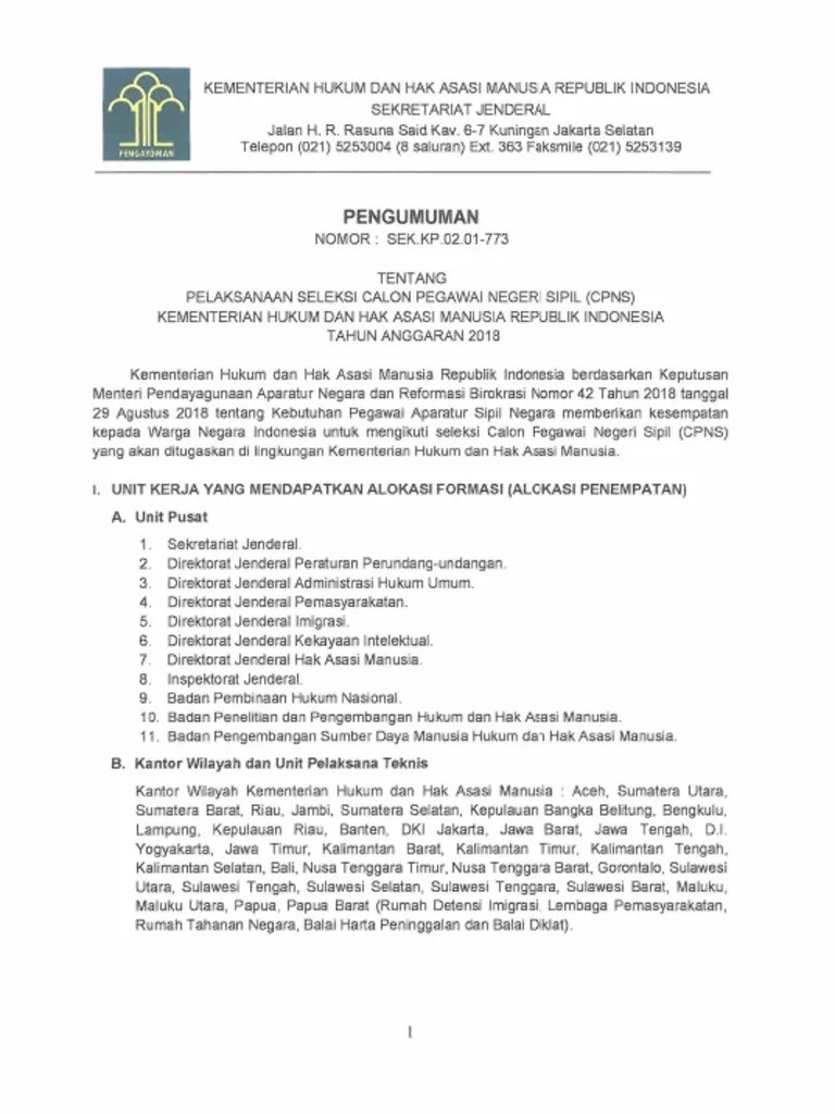 Kemenkumham Cpns 2018 Pdf : kemenkumham, Pengumuman-cpns-kemenkumham-2018.pdf