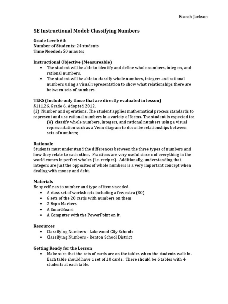 small resolution of math lesson plan - 5e instructional model   Integer   Numbers