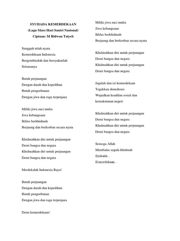 Lagu Hari Santri Nasional 2019 : santri, nasional, Santri, Lirik