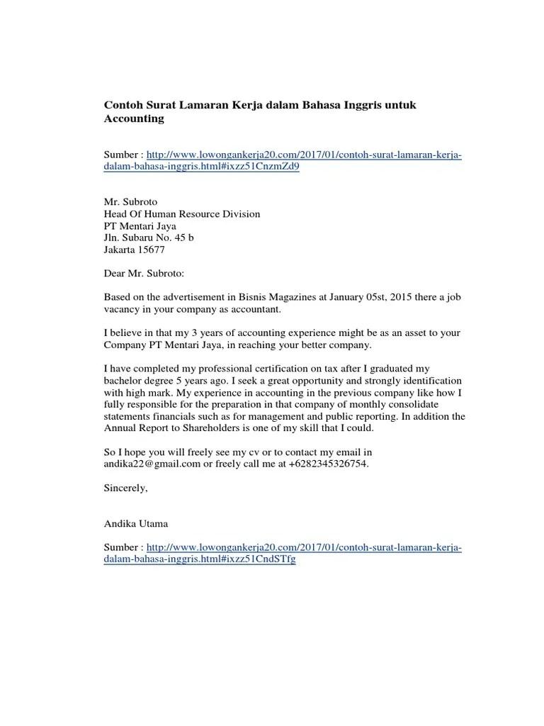 Contoh Surat Lamaran Kerja Bahasa Inggris Operation Manager Kumpulan Kerjaan Cute766