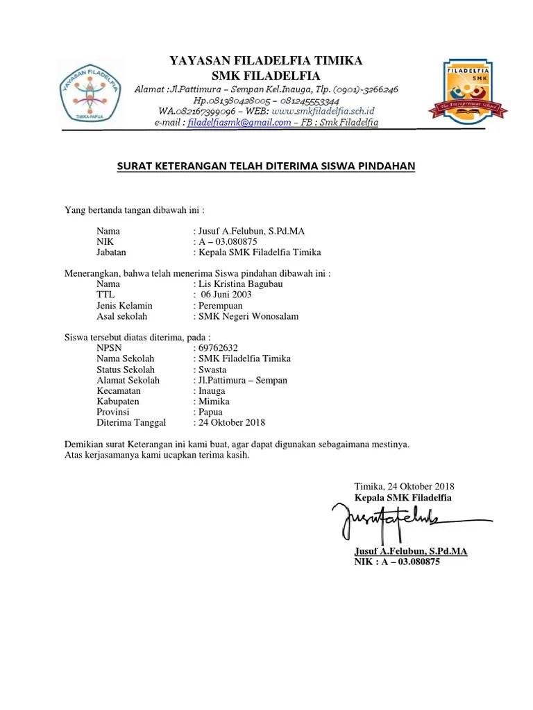 Surat Keterangan Diterima Sekolah : surat, keterangan, diterima, sekolah, Surat, Keterangan, Diterima, Sekolah