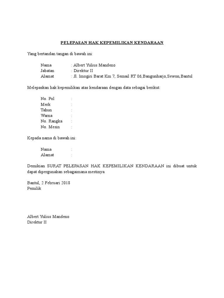 Contoh Surat Pelepasan Mobil Atas Nama Pt Dapatkan Contoh Cute766