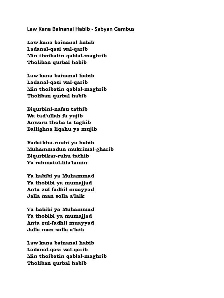 Lirik Habibi Ya Muhammad : lirik, habibi, muhammad, Bainanal, Habib