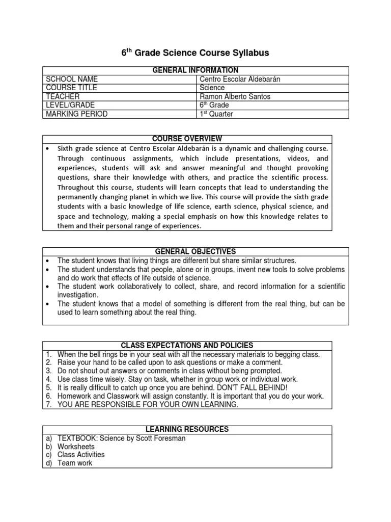 6th Grade Science Course Syllabus   Homework   Science [ 1024 x 768 Pixel ]