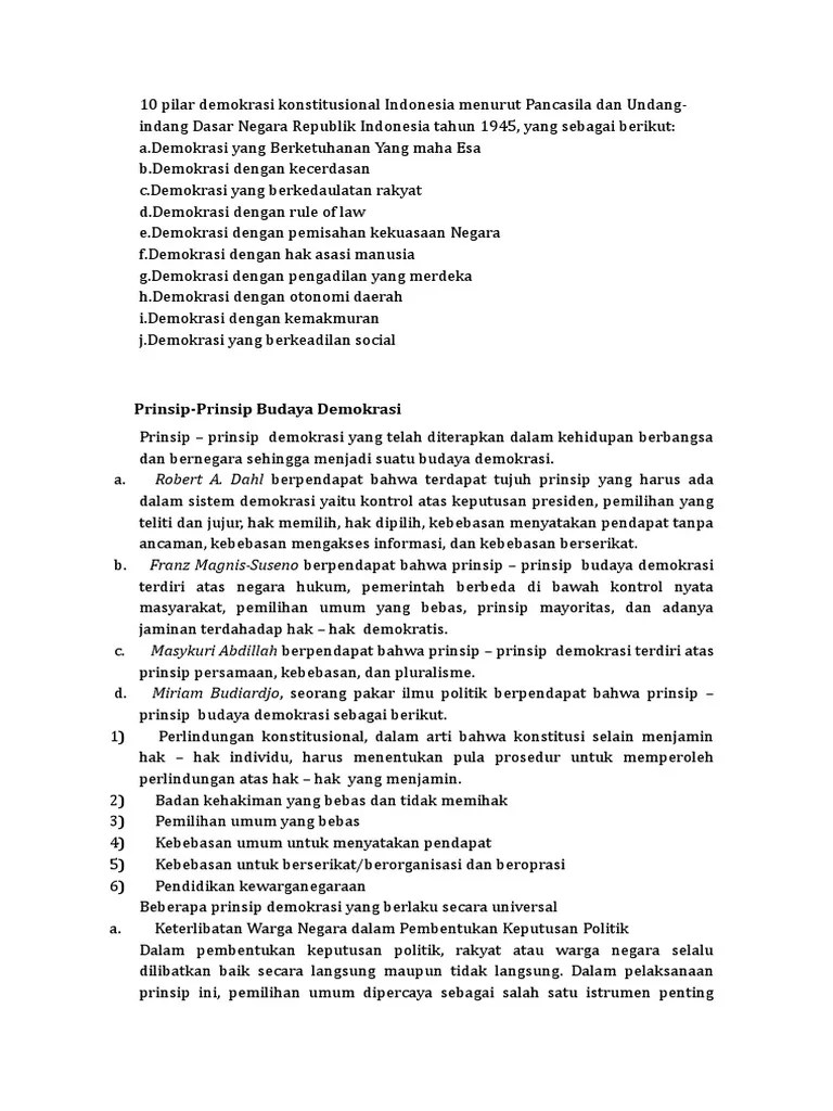 10 Pilar Demokrasi : pilar, demokrasi, Pilar, Demokrasi, Konstitusional, Indonesia, Menurut, Pancasila, Undang