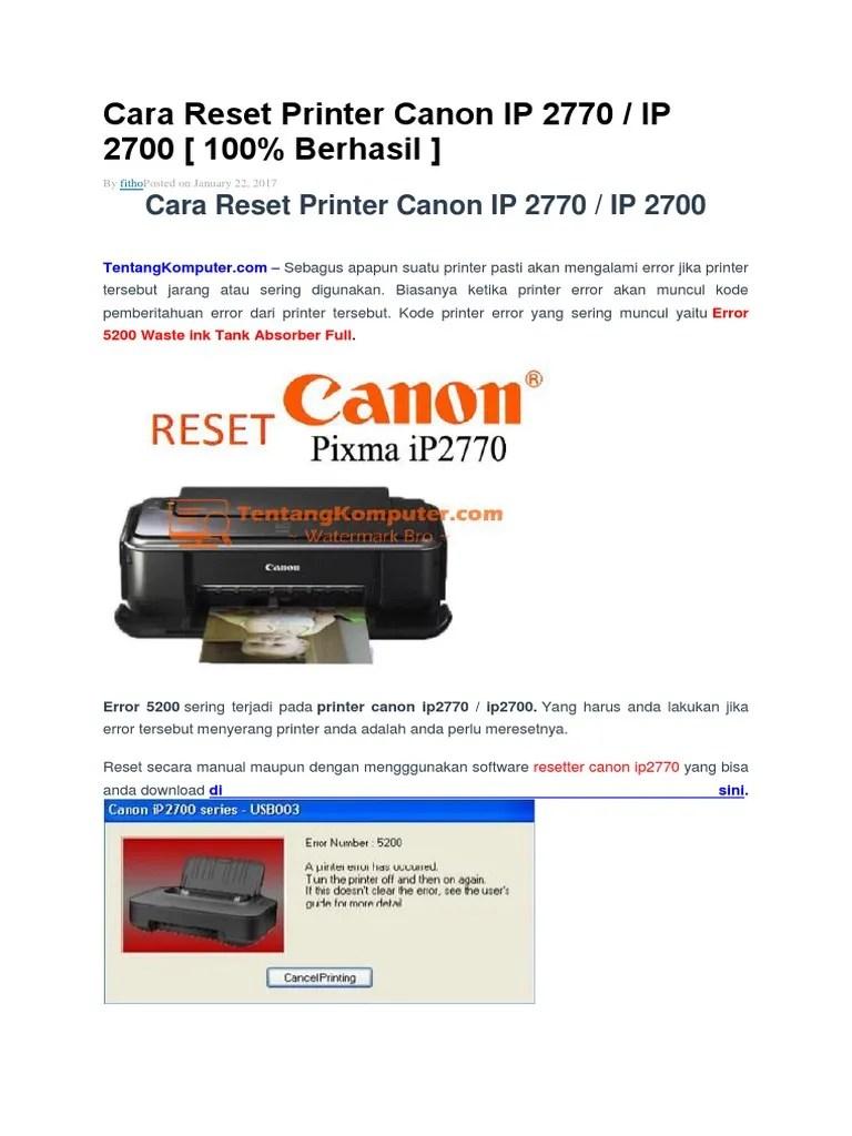 How to reset error 5B00 | 7BLINKS | canon IP2770