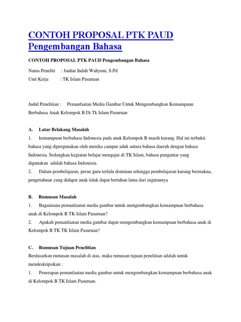 Contoh Ptk Paud Pengembangan Bahasa : contoh, pengembangan, bahasa, Contoh, Proposal, Pengembangan, Bahasa, Ilustrasi
