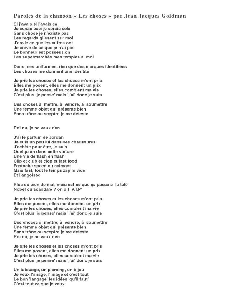 Chansons De Jean Jacques Goldman : chansons, jacques, goldman, Choses, Jacques, Goldman, Paroles, Chanson