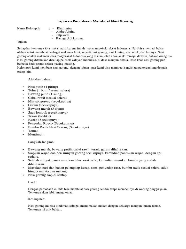 Contoh Laporan Teks Percobaan : contoh, laporan, percobaan, Contoh, Laporan, Percobaan, Tentang, Makanan, Seputar