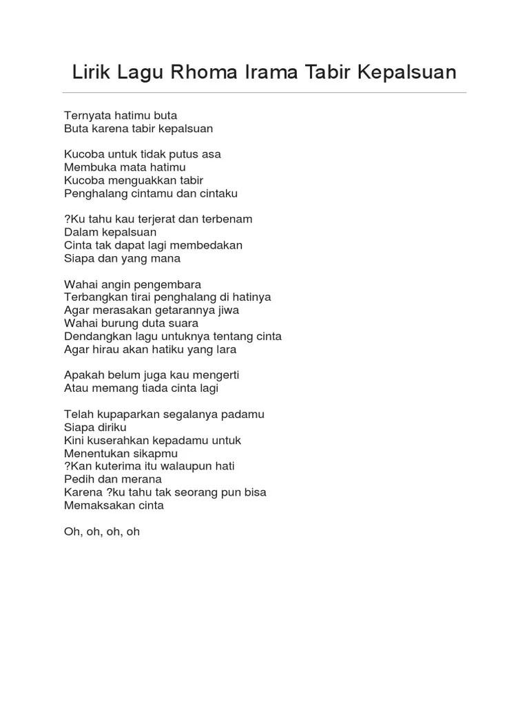 Lirik Lagu Tabir Kepalsuan by Rhoma Irama Lyric