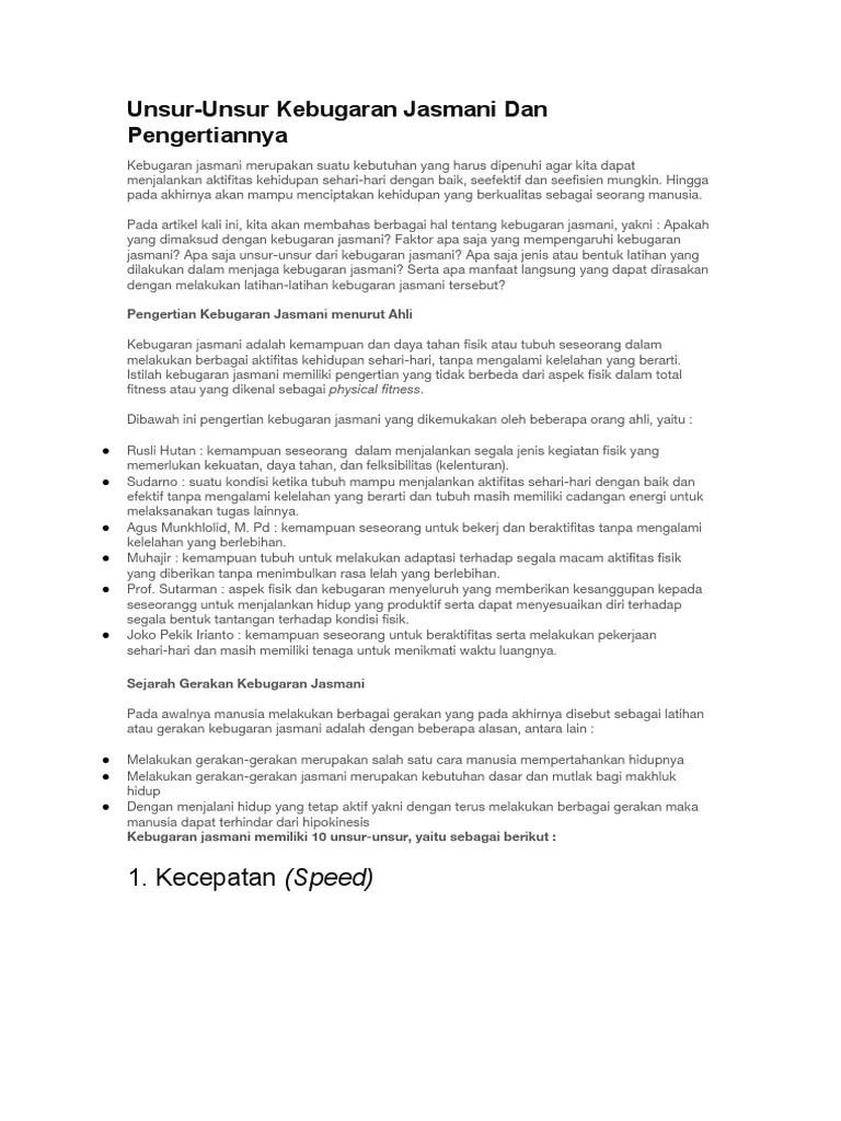 5 Unsur Kebugaran Jasmani : unsur, kebugaran, jasmani, Unsur, Kebugaran, Jasmani