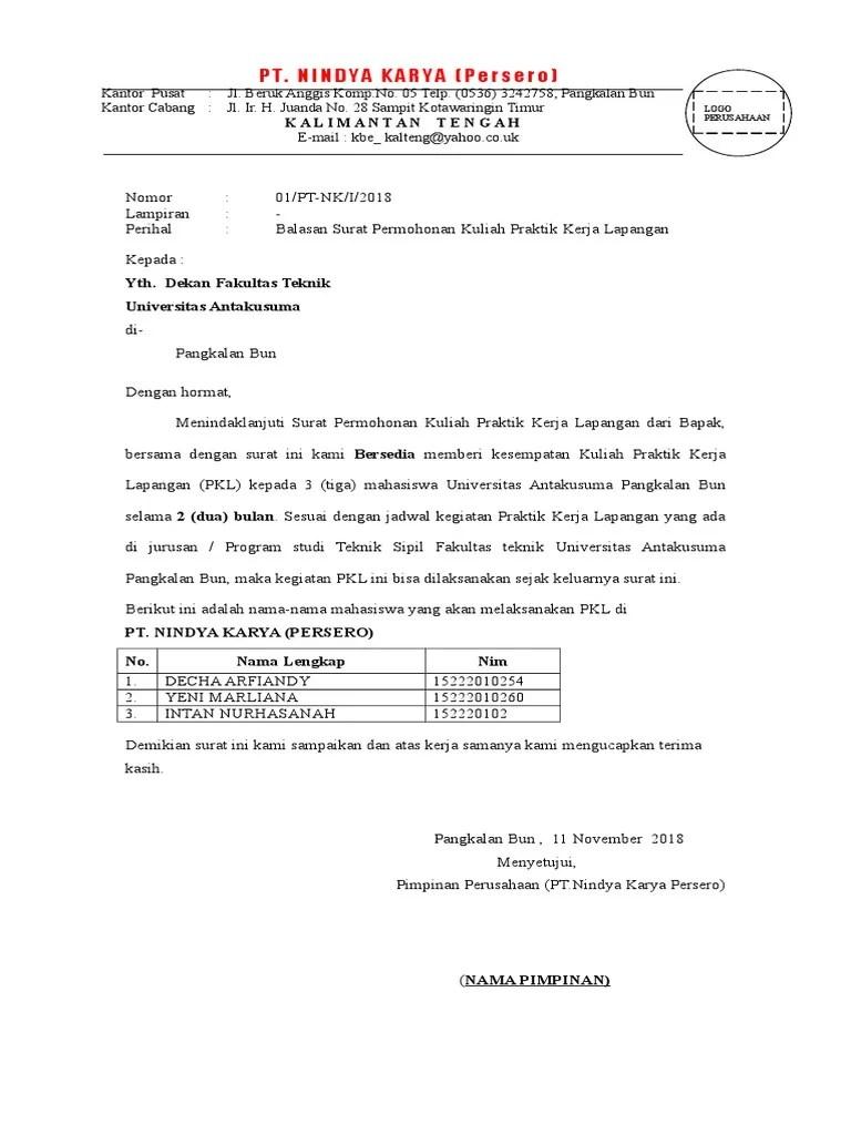 Surat Balasan Pkl Dari Perusahaan Doc : surat, balasan, perusahaan, Contoh, Surat, Balasan, Mahasiswa, Cute766
