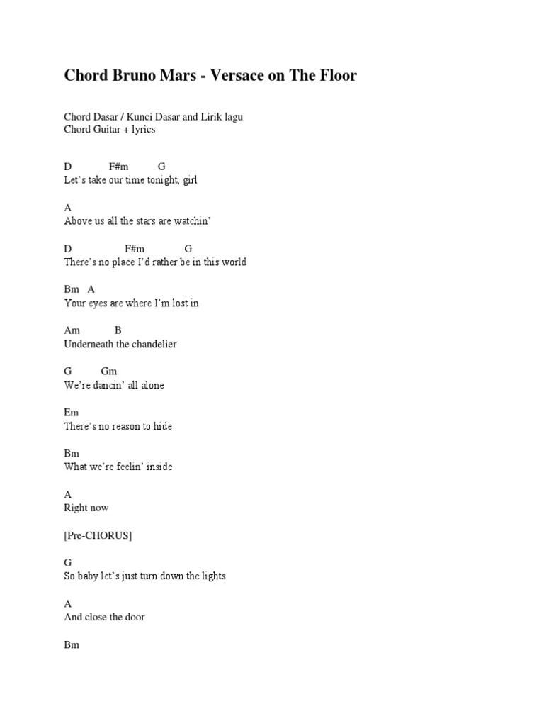 Lirik Lagu Versace On The Floor : lirik, versace, floor, Versace, Floor, Chords