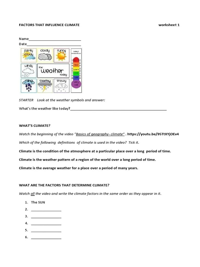 FACTORS-THAT-INFLUENCE-CLIMATE-worksheets.pdf   Earth   Weather [ 1024 x 768 Pixel ]
