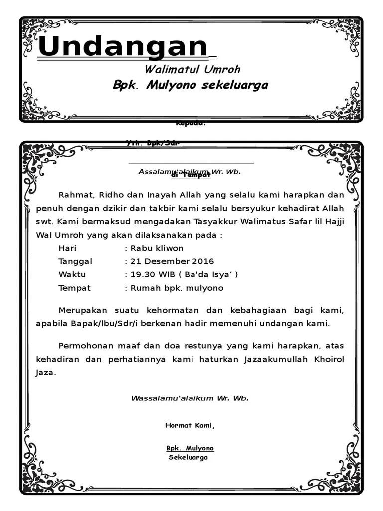Contoh Undangan Walimatul Umroh : contoh, undangan, walimatul, umroh, Undangan, Umroh