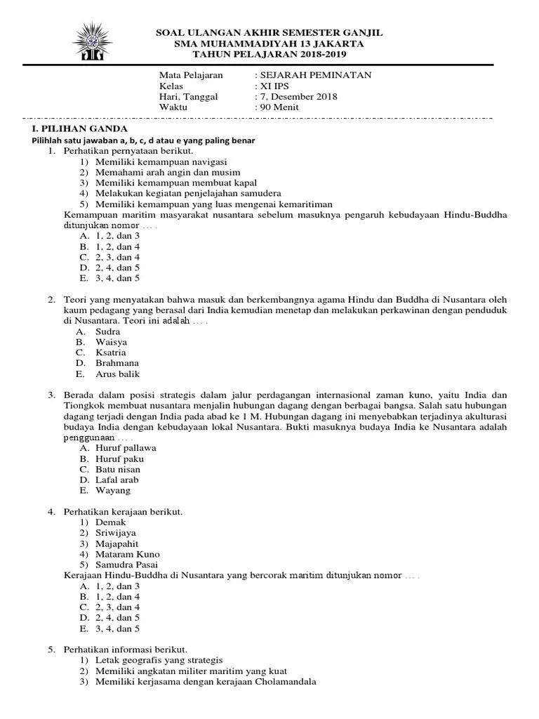 Soal Sejarah Peminatan Kelas Xi Ips Semester 1 Beserta Jawabannya : sejarah, peminatan, kelas, semester, beserta, jawabannya, Sejarah, Minat, Kelas