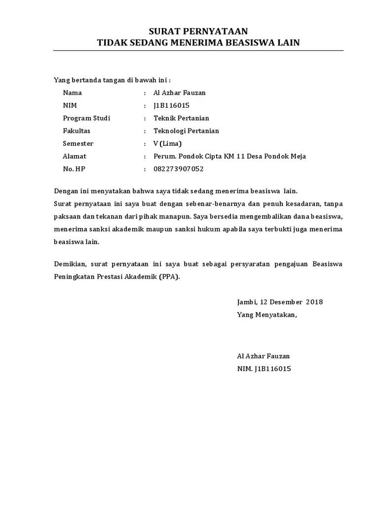 Surat Pernyataan Tidak Sedang Menerima Beasiswa Dari Sumber Lain : surat, pernyataan, tidak, sedang, menerima, beasiswa, sumber, Surat, Pernyataan, Tidak, Menerima, Beasiswa