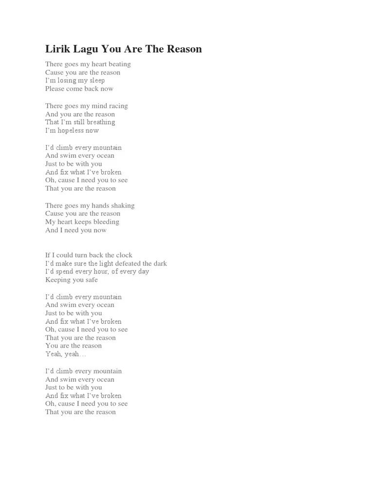 Lirik Lagu You Are The Reason Beserta Artinya : lirik, reason, beserta, artinya, Lirik, Reason