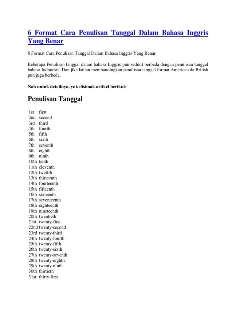 Penulisan Tanggal Surat Dalam Bahasa Inggris : penulisan, tanggal, surat, dalam, bahasa, inggris, Format, Penulisan, Tanggal, Dalam, Bahasa, Inggris, Benar
