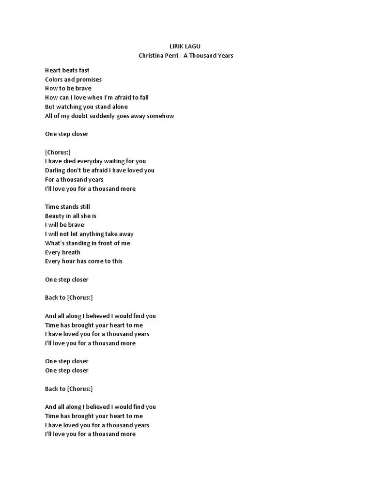 Lirik A Thousand Years - Christina Perri