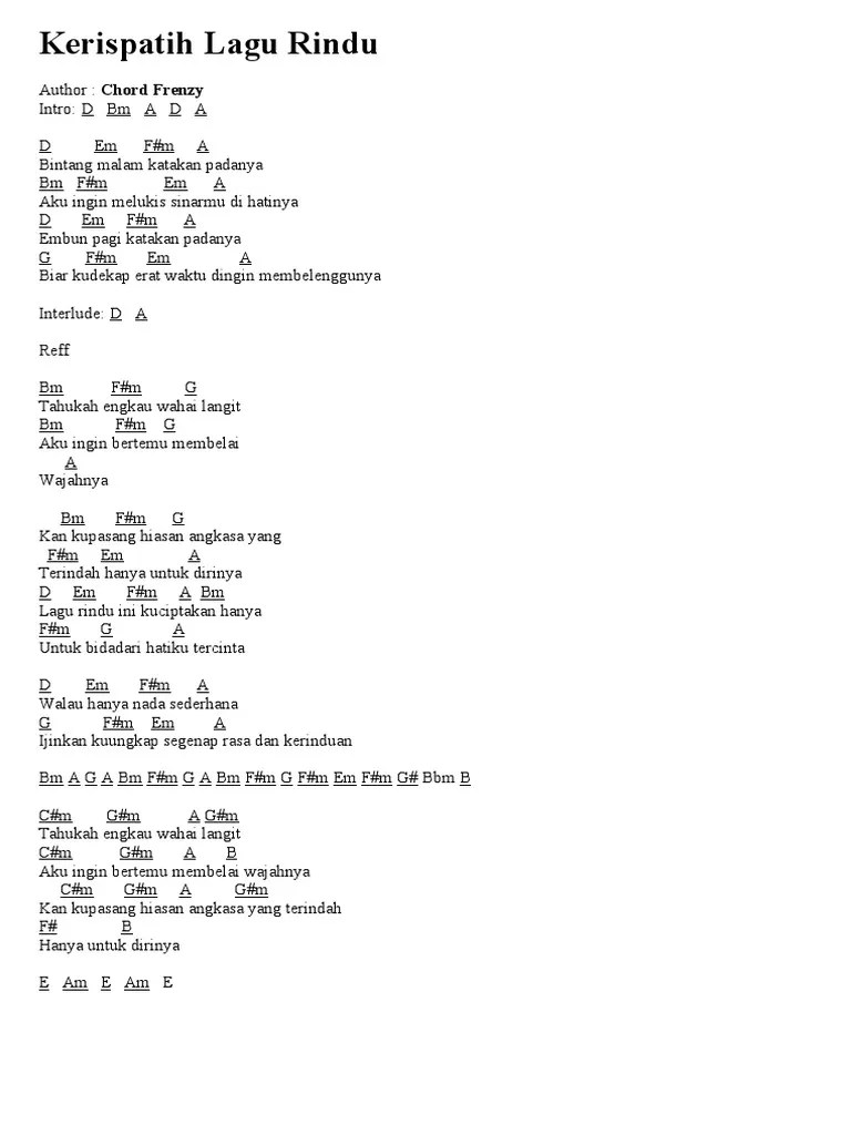 Kerispatih Lagu Rindu Chord : kerispatih, rindu, chord, Kerispatih, Rindu